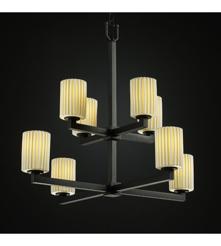 Justice Design Limoges Modular 8-Light 2-Tier Chandelier in Matte Black POR-8828-10-PLET-MBLK photo