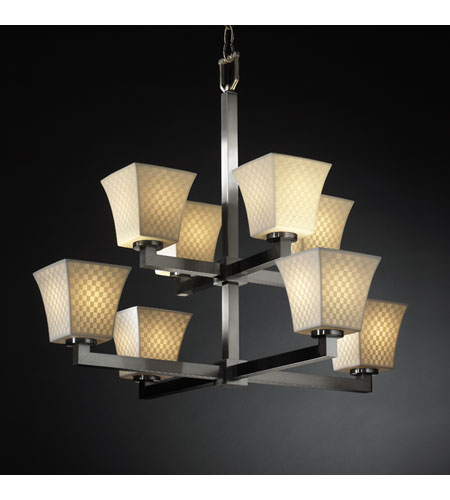 Justice Design Limoges Modular 8-Light 2-Tier Chandelier in Brushed Nickel POR-8828-40-CHKR-NCKL photo
