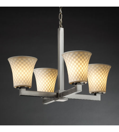 Justice Design Limoges Modular 4-Light Chandelier in Brushed Nickel POR-8829-20-CHKR-NCKL photo