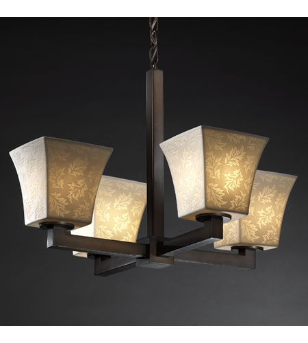 Justice Design POR-8829-40-LEAF-DBRZ Limoges 4 Light Dark Bronze Chandelier Ceiling Light in Leaf, Square Flared photo