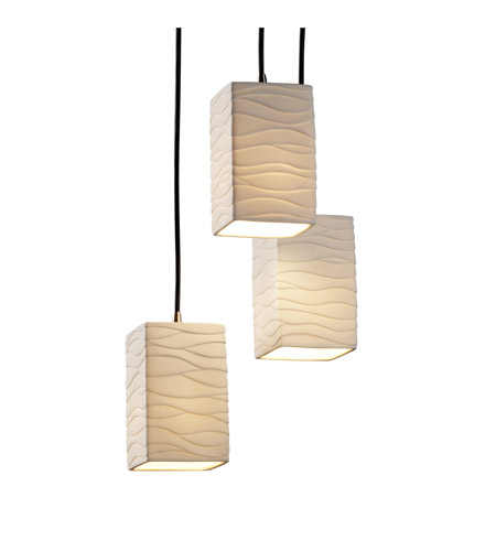 Justice Design Limoges Pendants Small 3-Light Cluster Pendant in Brushed Nickel POR-8864-15-WAVE-NCKL photo