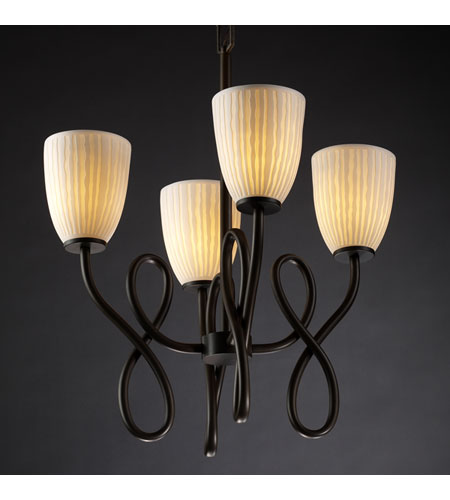 Justice Design Limoges Capellini 4-Light Chandelier in Dark Bronze POR-8910-18-WFAL-DBRZ photo