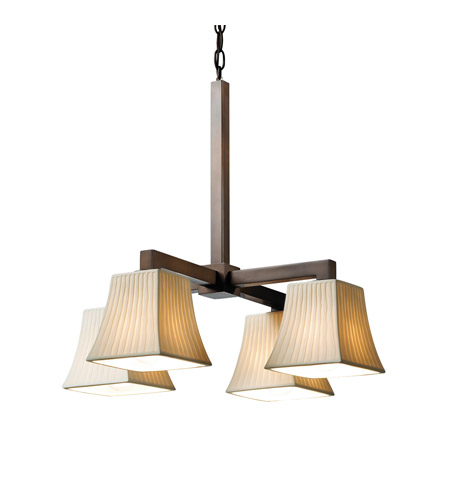 Justice Design POR-8920-40-WFAL-DBRZ Limoges 4 Light Dark Bronze Chandelier Ceiling Light in Waterfall, Square Flared photo