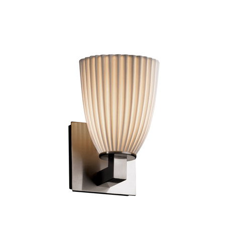 justice design limoges 1 light 5 inch brushed nickel wall sconce wall light in pleats tapered cylinder