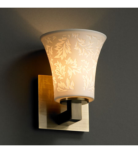 Justice Design POR-8921-20-LEAF-ABRS Limoges 1 Light 6 inch Antique Brass Wall Sconce Wall Light photo