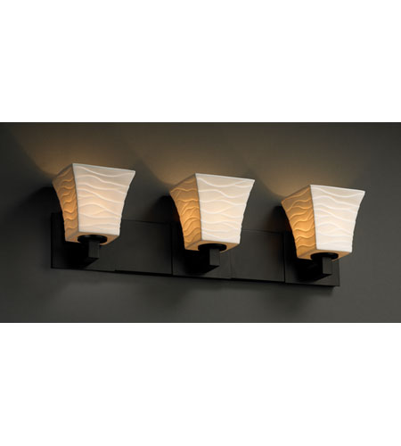 Justice Design POR-8923-40-WAVE-MBLK Limoges 3 Light 27 inch Matte Black Bath Bar Wall Light in Waves, Square Flared photo