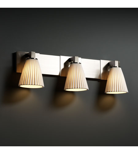 Justice Design Limoges Modular 3-Light Bath Bar in Brushed Nickel POR-8923-50-PLET-NCKL photo