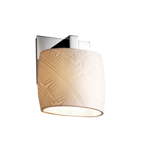 Justice Design POR-8931-30-BANL-CROM Limoges 1 Light 7 inch Polished Chrome ADA Wall Sconce Wall Light in Banana Leaf photo