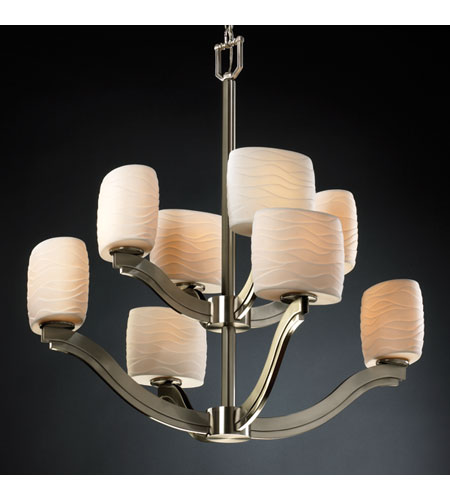 Justice Design Limoges Bend 8-Light 2-Tier Chandelier in Brushed Nickel POR-8978-30-WAVE-NCKL photo