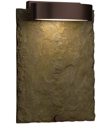 Justice Design SLT-7531W-ERTH-DBRZ Slate 12 inch Outdoor Wall Sconce in Dark Bronze, Earth