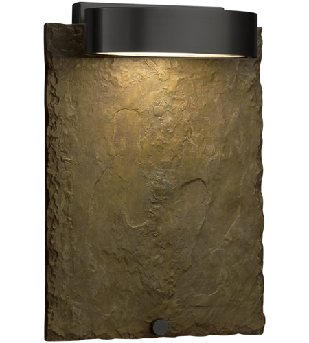 Justice Design SLT-7531W-ERTH-MBLK Slate 12 inch Outdoor Wall Sconce in Matte Black, Earth