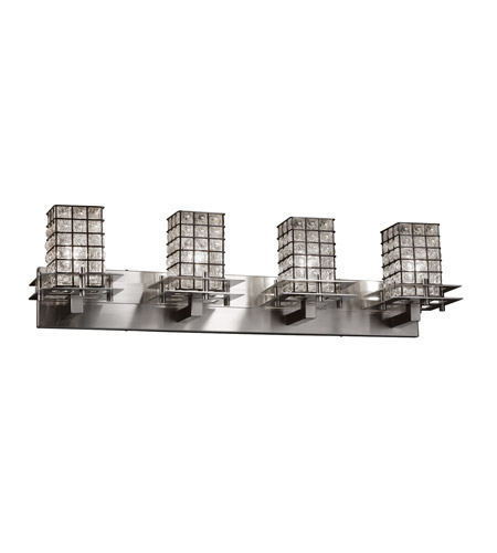 Justice Design Group WGL-8171-15-GROP-CROM Wire Glass Collection Metropolis 1-Light Wall Sconce with 2 Flat Bars