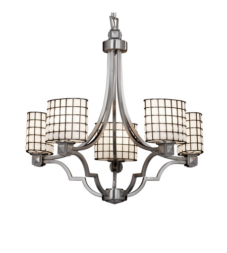 Justice Design WGL-8500-30-GROP-NCKL Wire Glass 5 Light 28 inch Brushed Nickel Chandelier Ceiling Light in Grid with Opal, Oval photo
