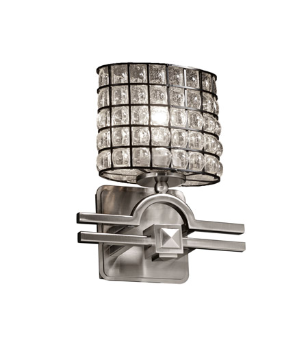 Justice Design Wire Glass Argyle 1-Light Wall Sconce in Brushed Nickel WGL-8501-30-GRCB-NCKL photo