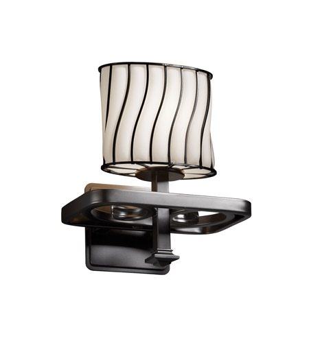 Justice Design Wire Glass Arcadia 1-Light Wall Sconce in Matte Black WGL-8561-30-SWOP-MBLK photo