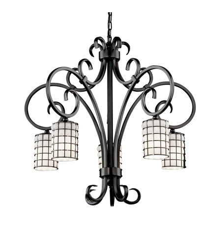 Justice Design WGL-8575-10-GROP-MBLK Wire Glass 5 Light 30 inch Matte Black Chandelier Ceiling Light in Grid with Opal, Cylinder with Flat Rim photo