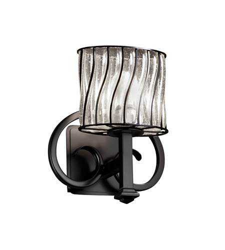 Justice Design Wire Glass Heritage 1-Light Wall Sconce in Matte Black WGL-8581-30-SWCB-MBLK photo