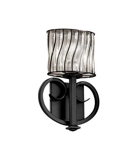 Justice Design WGL-8587-30-SWCB-MBLK Heritage 1 Light 9 inch Matte Black ADA Wall Sconce Wall Light in Swirl with Clear Bubbles photo