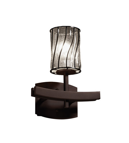 Justice Design WGL-8591-10-SWCB-DBRZ Wire Glass 1 Light 9 inch Dark Bronze Wall Sconce Wall Light in Swirl with Clear Bubbles, Cylinder with Flat Rim photo