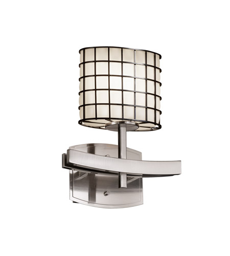 Justice Design Wire Glass Archway 1-Light Wall Sconce in Brushed Nickel WGL-8591-30-GROP-NCKL photo