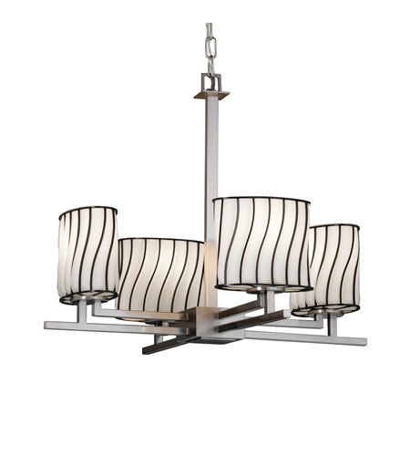 Justice Design Wire Glass Aero 4-Light Chandelier in Brushed Nickel WGL-8700-30-SWOP-NCKL photo