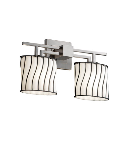 Justice Design Wire Glass Aero 2-Light Bath Bar in Brushed Nickel WGL-8702-30-SWOP-NCKL photo