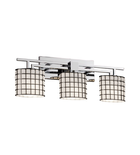 Justice Design Wire Glass Aero 3-Light Bath Bar in Polished Chrome WGL-8703-30-GROP-CROM photo