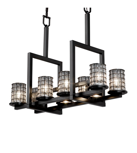 Justice Design Wire Glass Dakota 8-Up & 3-Downlight Bridge Chandelier in Matte Black WGL-8718-10-GRCB-MBLK photo