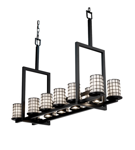 Justice Design WGL-8719-10-GROP-MBLK Wire Glass 17 Light 13 inch Matte Black Chandelier Ceiling Light in Grid with Opal photo