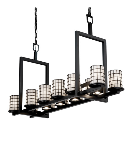 Justice Design Wire Glass Dakota 12-Up & 5-Downlight Bridge Chandelier (Short) in Matte Black WGL-8720-10-GROP-MBLK photo