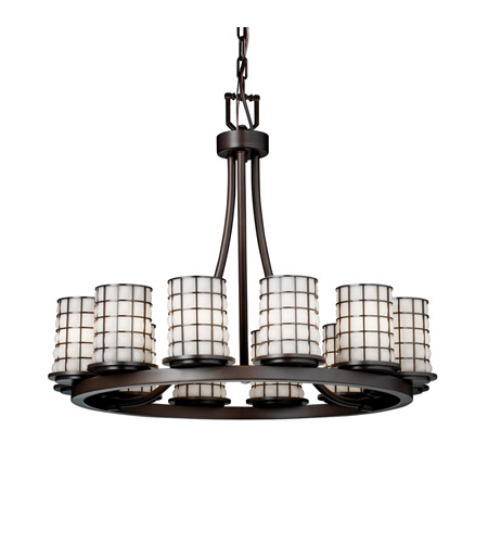Justice Design WGL-8768-10-GROP-DBRZ Wire Glass 12 Light Dark Bronze Chandelier Ceiling Light in Grid with Opal photo