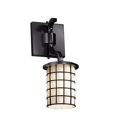 Justice Design Wire Glass Sonoma 1-Light Wall Sconce (Short) in Matte Black WGL-8781-10-GROP-MBLK photo