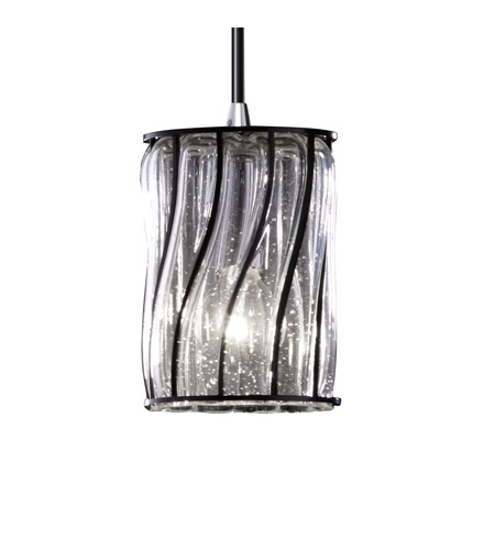 Justice Design Wire Glass Mini 1-Light Pendant in Polished Chrome WGL-8815-10-SWCB-CROM photo