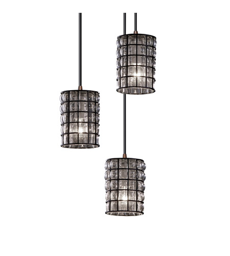 Justice Design WGL-8818-10-GRCB-DBRZ Wire Glass 3 Light 4 inch Dark Bronze Pendant Ceiling Light in Grid with Clear Bubbles photo