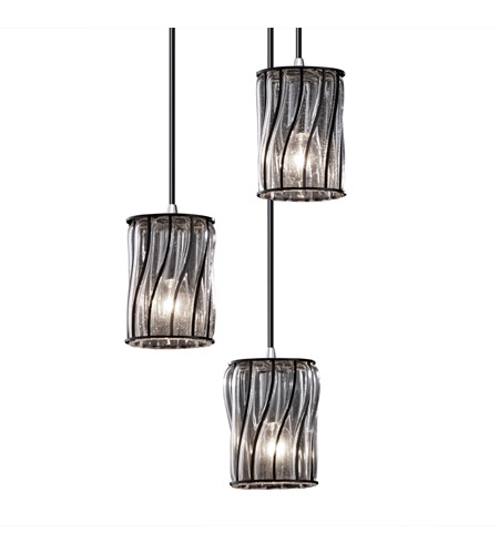 Justice Design Wire Glass Mini 3-Light Cluster Pendant in Brushed Nickel WGL-8818-10-SWCB-NCKL photo