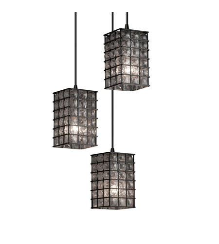 Justice Design WGL-8864-15-GRCB-DBRZ Signature 3 Light 4 inch Dark Bronze Pendant Ceiling Light in Grid with Clear Bubbles