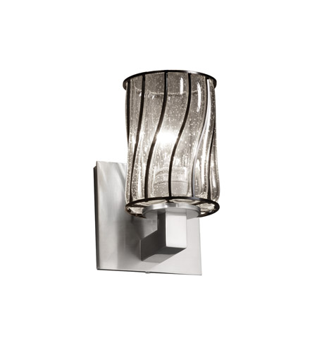 Justice Design WGL-8921-10-SWCB-NCKL Wire Glass 1 Light 5 inch Brushed Nickel Wall Sconce Wall Light in Swirl with Clear Bubbles, Cylinder with Flat Rim photo