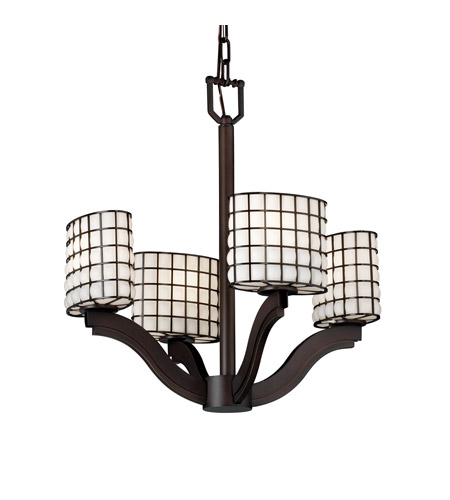 Justice Design WGL-8970-30-GROP-DBRZ Wire Glass 4 Light Dark Bronze Chandelier Ceiling Light in Grid with Opal, Oval photo