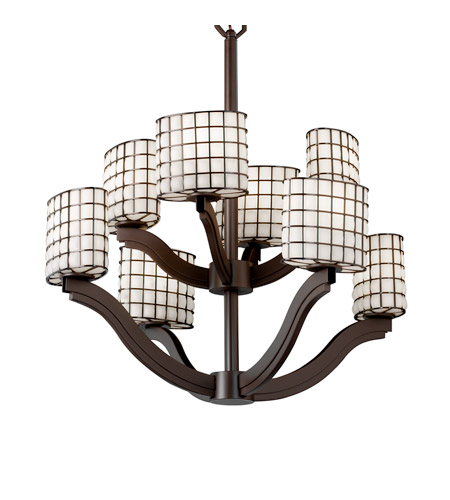 Justice Design Wire Glass Bend 8-Light 2-Tier Chandelier in Dark Bronze WGL-8978-30-GROP-DBRZ photo