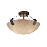 Justice Design 3form 3 Light Semi-Flush in Dark Bronze 3FRM-9611-35-LEAF-DBRZ