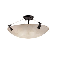 3form 6 Light 27 inch Matte Black Semi-Flush Ceiling Light in Fossil Leaf