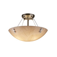 3form 3 Light 21 inch Brushed Nickel Semi-Flush Ceiling Light in Pair of Cylinders, Fossil Leaf