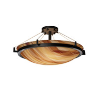 3form 6 Light 27 inch Matte Black Semi-Flush Ceiling Light in Ribbon Twirl