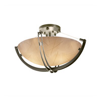 Justice Design 3form 3 Light Semi-Flush in Brushed Nickel 3FRM-9711-35-LEAF-NCKL