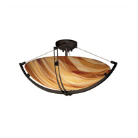 3form 6 Light 28 inch Dark Bronze Semi-Flush Ceiling Light in Ribbon Twirl