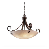 3form 6 Light 31 inch Dark Bronze Pendant Ceiling Light in Pair of Square with Points, Fossil Leaf, Incandescent