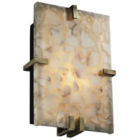 Justice Design Alabaster Rocks Clips Rectangle Wall Sconce (Ada) in Antique Brass ALR-5551-ABRS