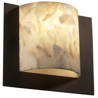 Justice Design Alabaster Rocks Framed Square 3-Sided Wall Sconce (Ada) in Dark Bronze ALR-5560-DBRZ