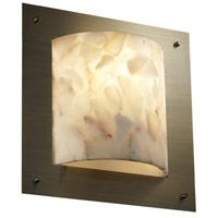 Justice Design Alabaster Rocks Framed Square 4-Sided Wall Sconce (Ada) in Antique Brass ALR-5561-ABRS