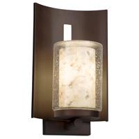 Justice Design ALR-7591W-10-DBRZ-LED1-700 Alabaster Rocks LED 13 inch Outdoor Wall Sconce in 700 Lm LED Dark Bronze